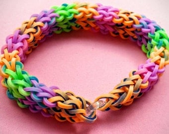 Unique handmade Rainbow Loom® rubber band bracelet. Multi-colored tie dye bands.  Great gift idea for all ages!