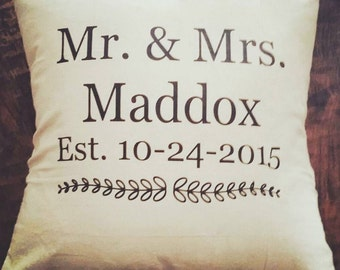 Mr & Mrs Personalized Pillowcase with Wedding Date 18x18