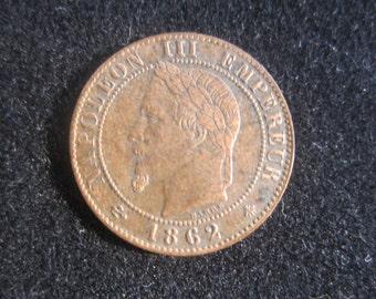 1862 A Un Centime Republique France