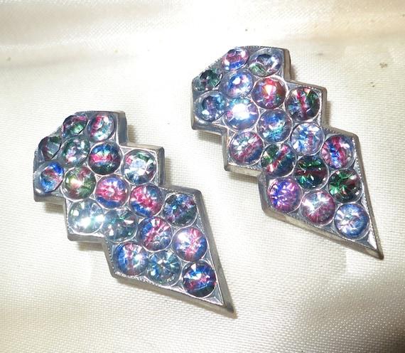 Pair of Vintage 1940s Czech Deco silvertone rainbow rhinestone  dress clip brooch