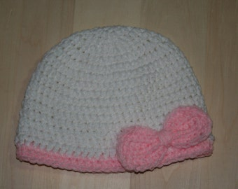 Child's Pink and White Beanie with bow