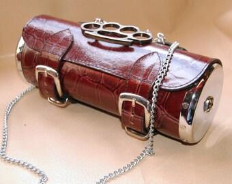 Rockabilly Red cylinder bag, leather cylinder bag with metal side panel, leather purse, rockabilly style shoulder bag, gray bag