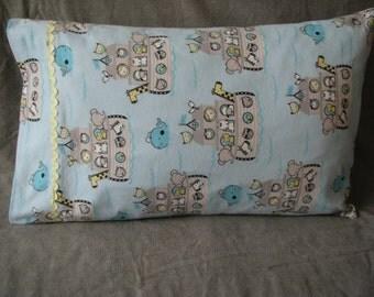 Light blue Noah's arc standard size homemade kids pillowcase