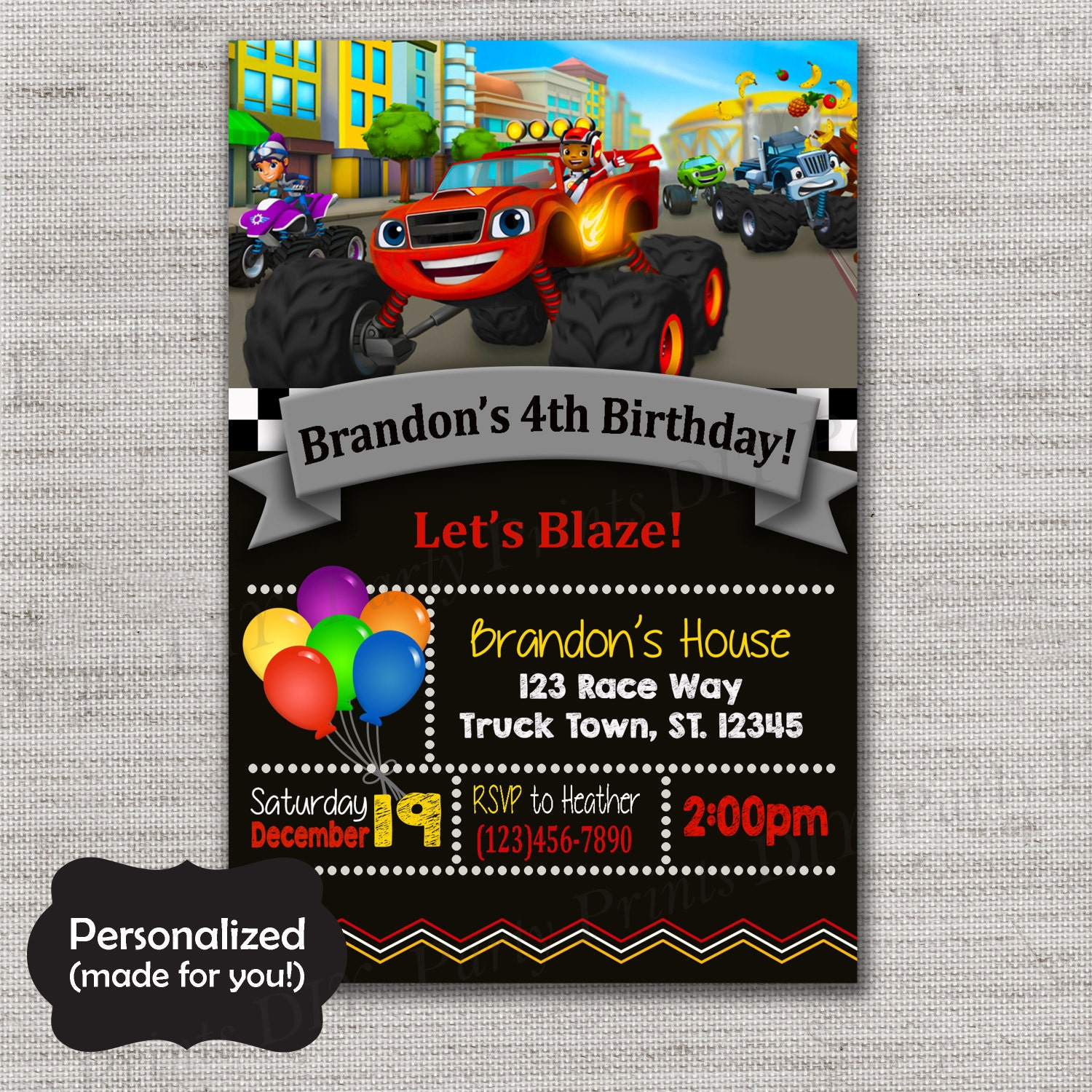 Blaze And The Monster Machines Birthday By DIYpartyprint On Etsy