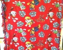 Paw Patrol Blanket Fleece Blanket Paw Patrol Fleece Baby Fleece Toddler Fleece Red Blanket Baby Blanket Toddler Blanket Tie Blanket