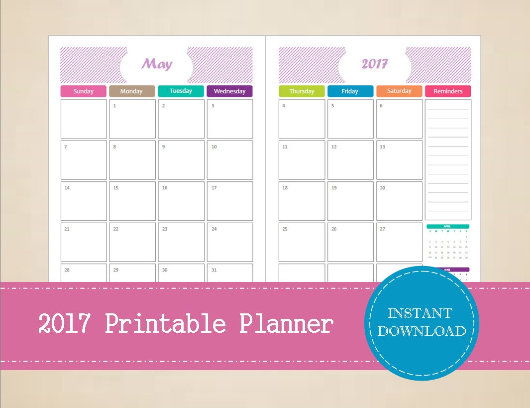 Printable 2017 Half Page Monthly Planner Editable 2017