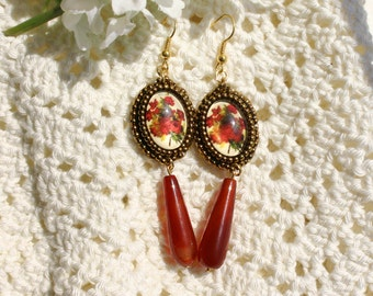 Vintage-Look Bead Embroidered Cabochon Earrings
