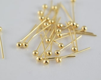 """1/2"""" Inch Round Head Pin Gold Filled 14k 13mm thickness 0.5mm Ball Size 2mm GF6001"""