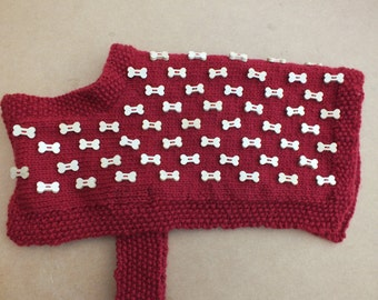 Handmade to measure dog coat embellished with wooden bone shapes