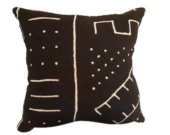 CUSTOM SIZES! Black Geometric Tribal Mud Cloth Pillows