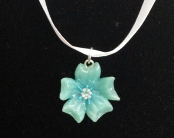 Blue Cherry Blossom Necklace | 18 Inch White Ribbon