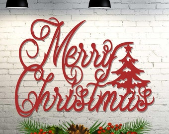 Merry Christmas Indoor / Outdoor Decoration - 22 inches wide x 15 3/4 inches high - Sign Cut From Steel - Metal