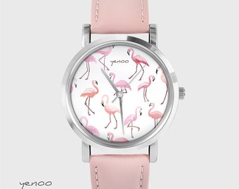 Bracelet Watch - Flamingos - rose quartz, leather