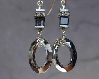 Swarovski Crystal Earrings, Modern Earrings, Oval Shape Earrings, Cube Earrings, Black Earrings, 1071
