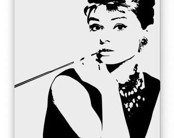 Audrey Hepburn. Mirror hand engraved, sandblasted and coloured spray