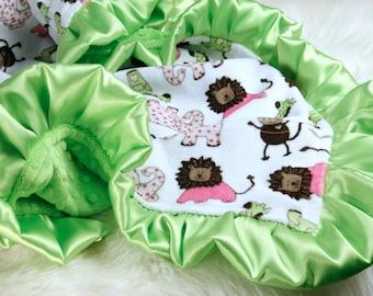 "Lime Green Baby Blanket 33"" x 42""  Minky Baby Girl Blanket,  Can be Personalized , Crib Blanket, Stroller Blanket, Baby Girl Shower Gift,"
