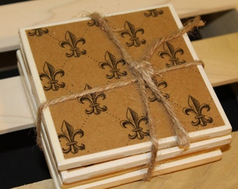 Tile Coasters Fleur de Lis - weddings, birthdays