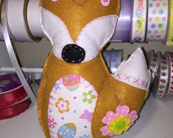 Pink Flower Felt Easter Fox Plushie