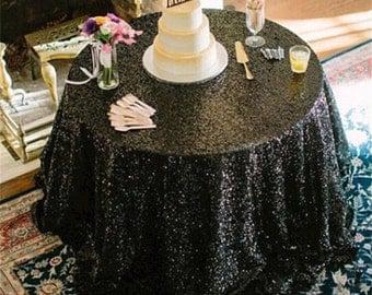 SALE!! Black sequin tablecloth, table runner, or table overlay. Wedding tablecloth, glitz, gatsby themed, glam