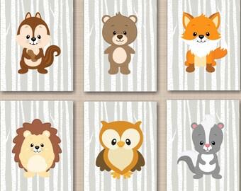 Woodland Nursery Wall Art,Woodland Wall Art,Forest Animals Wall Art,Woodland Tales Nursery Wall Art,Fox Bear Owl Wall Art-UNFRAMED Set of 6