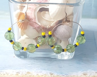 Handmade Jamaican color hoop earrings