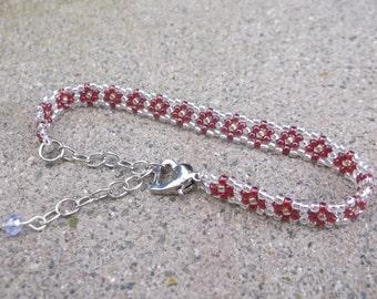 Beaded Flower Bracelet, Beaded Daisy Chain, Seed Bead Flower Bracelet, Daisy Chain Bracelet, Bead Flower Bracelet