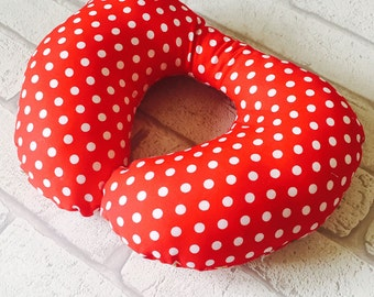 Childrens Neck Pillow, Cushion,Travel Pillow, Neck Rest, Childs Neck Rest, Childs Neck Pillow, Toddler Neck Pillow, Red Spot, FREE POSTAGE