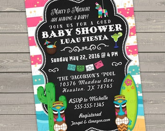 tropical baby shower invitation, baby shower luau fiesta invites gender neutral printable mexican coed baby shower invitations hawaiian tiki