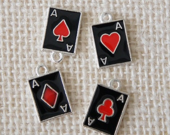 Enamel Playing Card Suits Charms - Silver Black Red Colors 4pcs Assorted - Metal Deco Parts Poker Spade Heart Club Diamond Beads Craft DIY