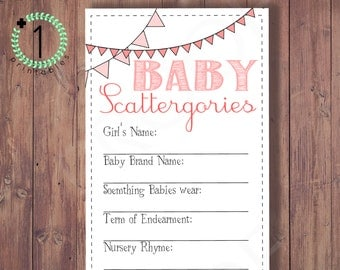 DIY Printable DIGITAL Download - Baby Shower Scattergories Game - Baby Girl Or Boy