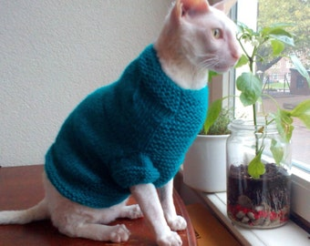 Knitting Pattern Cat Clothes : Cat sweater pattern Etsy