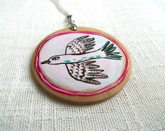 """White Bird"" wood necklace"