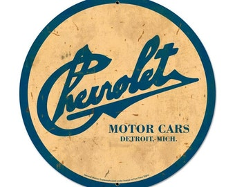 Chevrolet Motor Cars Detroit Vintage Sign