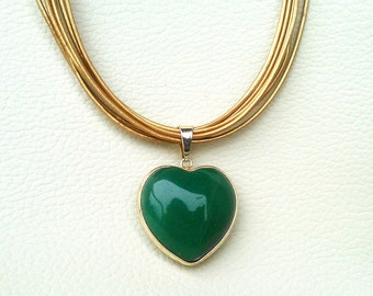 Statement Golden Leather Necklace with Green Heart Pendant