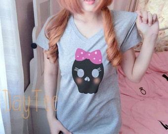 Cute skull shirt S M L XL short sleeve shirt women tshirts