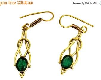 ON SALE Brass Drop Earrings, Green Stone Earrings, Gemstone Earrings, Green Quartz Earrings, Brass Earrings, Dangle Earrings, Gold Earrings