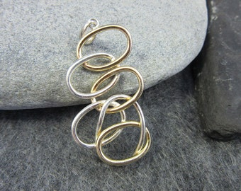 Vintage, Unique, Silver and Gold, Ovals, Pendant, Abstract, Modern, Hand Made, Gold Filled, Mixed Metals