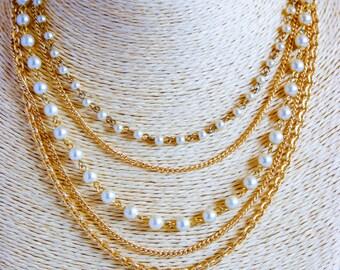1950 vintage necklace, multi strand necklace, necklace
