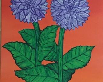 Dahlia flowers painting