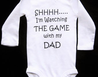 Shhh I'm Watching The Game With My Dad, Funny Baby Clothes, Funny Baby Gifts, New Dad Gift, Baby Shower, Daddy And Son, Baby Announcement