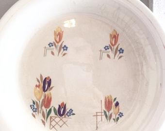 Vintage Kitchen Craft Tulips Pie Plate