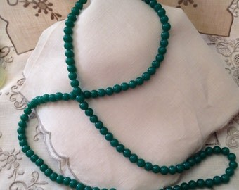Peking Glass Necklace China Single Strand of 113 Matched 7 mm Beads 18 Inch drop 14K Fish Hook Clasp Flapper Gorgeous Imperial Jade Color