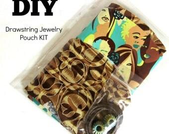 DIY Sewing Kit / Diy craft / Beginner Sewing Kit / DIY Kit / DIY Gift /  Diy Jewelry Pouch Kit / Jewelry Pouch / Jewelry Travel Bag Kit