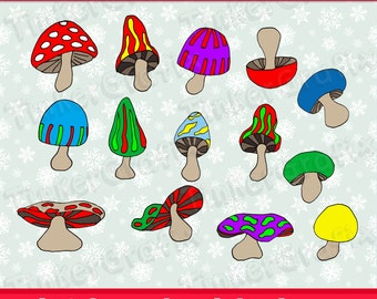 Hand drawn toadstools clipart,  digital clip art, printable holiday party illustrations commercial use