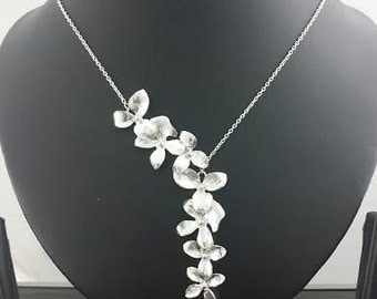 Sterling Silver Flower lariat necklace