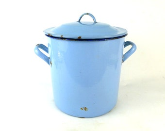 French Vintage Large Enamel Stock Pot / Vintage Enamel Stew Pot