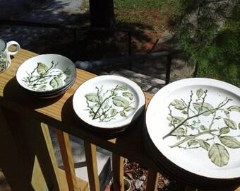 15 Piece Dinnerware Set, Greenleaves, Stonehenge, Midwinter, Made in England