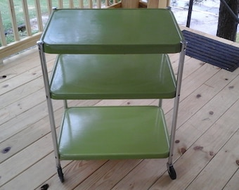 Metal Kitchen Cart, Olive Green and Chrome Rolling Cart, Three Shelf
