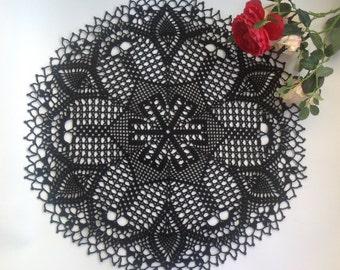 Black Crochet Napkin Crochet Doily Handcrafted Home Decor Lace doily