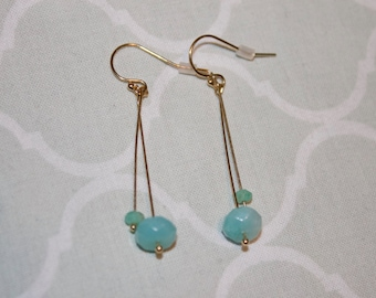 Faceted Amazonite 14k Gold Filled Earrings